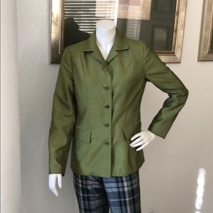 3/$20 SALE Isaac Mizrami Lime Green Satin Blazer 4